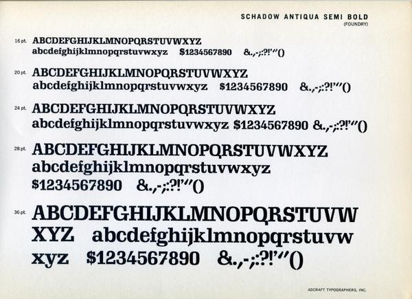 Schadow type specimen #type #specimen #typography