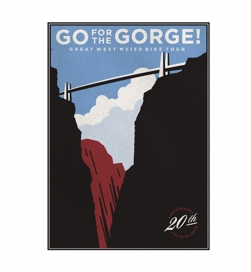 MS 100 Bike Race Graphics & Posters by VOLTAGE : Advertising & Design #gorge #bike #poster #bridge #race