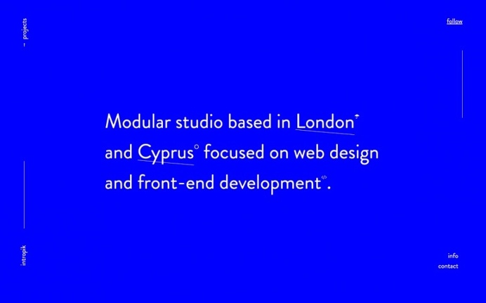 Intropik webdesign beautiful minimal website portfolio london united kingdom cyprus site of the day award mindsparkle mag designblog
