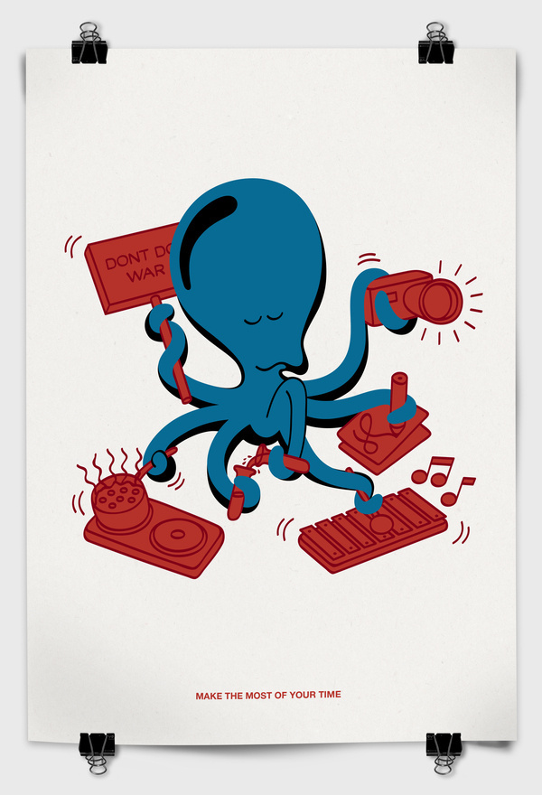 Make the most of your time Screen print on paper #active #busy #fish #occupied #octopus #quid #arms #squid #poster