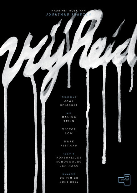 Vrijheid made by Robbin Veldman http://www.robbinveldman.nl #typography #freedom #vrijheid #poster #ad #affiche #theater #dramatic #black #b