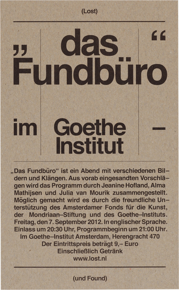Lost & Found: Goethe Institut (07–09–2012) #dutch #poster