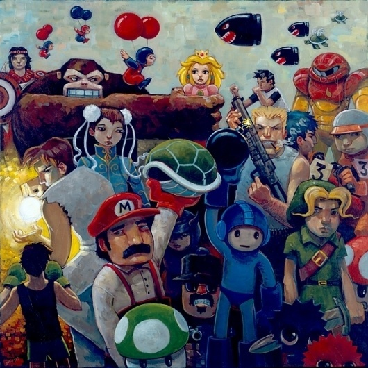 NEStalgia.jpg (JPEG Image, 600 × 600 pixels) #mario #kid #retro #snes #illustration #90s #painting #art #80s #games