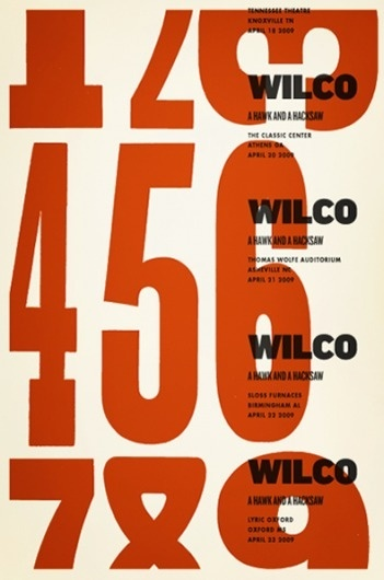 It's Nice That : Beautifully put together posters for gigs and the like designed by Alvin Diec #alvin #diec #poster #numbers #wilco #tour #typography