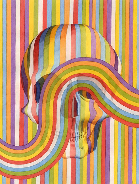 contemporary-contemporary-group-show-gauntlet-gallery #swirl #design #art #skull #rainbow #colour #multicolour