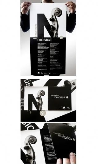 Novembro con Música 08 : Alberto Gende : Portfolios : Domestika #msica #visual #spain #a #carballo #corua #violin #con #alberto #program #gende #novembro #poster #music #type #metaphor #november #typography