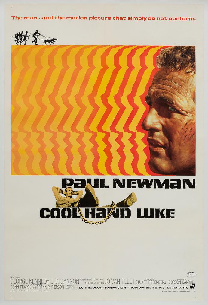 "Bill Gold's design for ""Cool Hand Luke"" featuring Paul Newman, 1967."