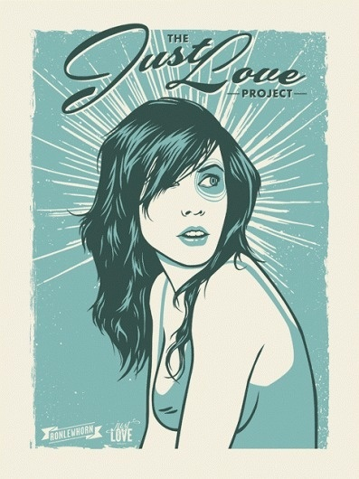 The Just Love Project | June #girl #retro #pretty #texture #illustration #portrait #poster #grunge #blue #50s