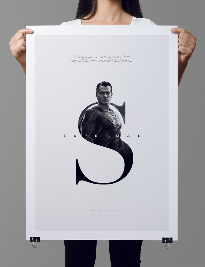 Superman poster by dribbble.com/mrajkovic #minimalistic #design #poster #superman #typography