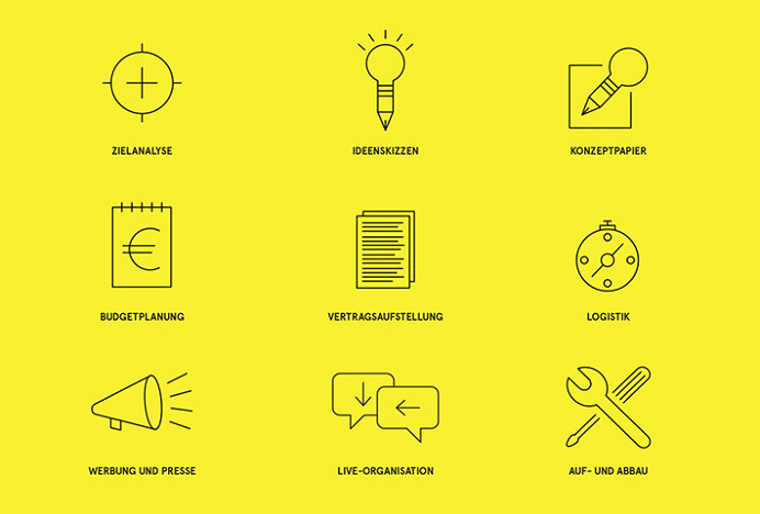 Eventbüro Bettray by Paul Schoemaker #icons #vector #graphic design #yellow