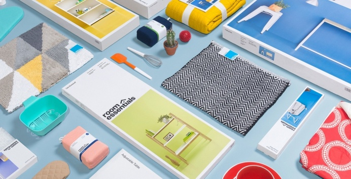 Room essentials furniture colorful branding identity collins new york mindsparkle mag packaging colorful yellow green orange red