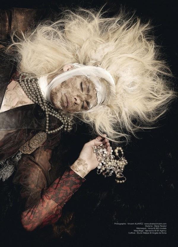 Anna Gushina in gothic art photography fashion by Vincent Alvarez #fashion #photography #gothic #art