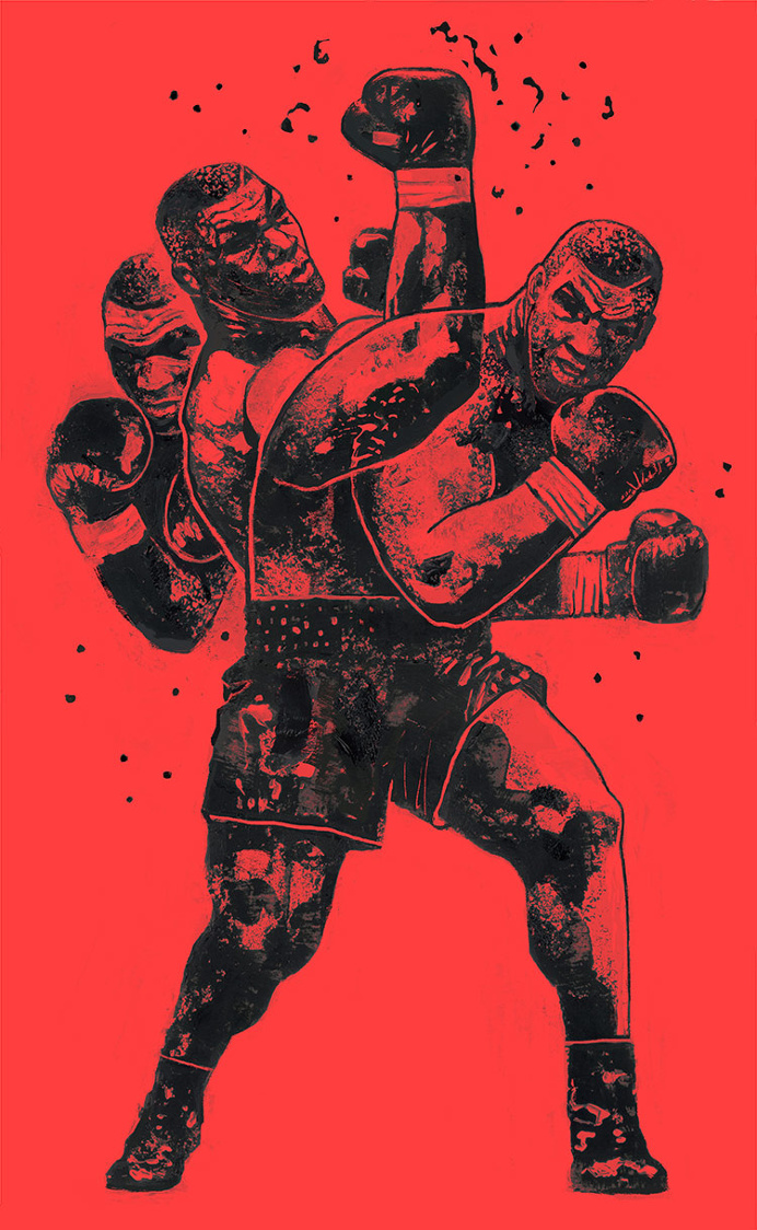 """Iron Mike"" 16″x26″ Acrylic, Digital. 2016. Check out 'Prime Tyson: Undisputed in Ninety Seconds' on Vice Fightland."
