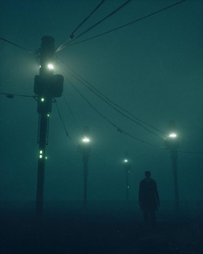 lights, green, dark ,man