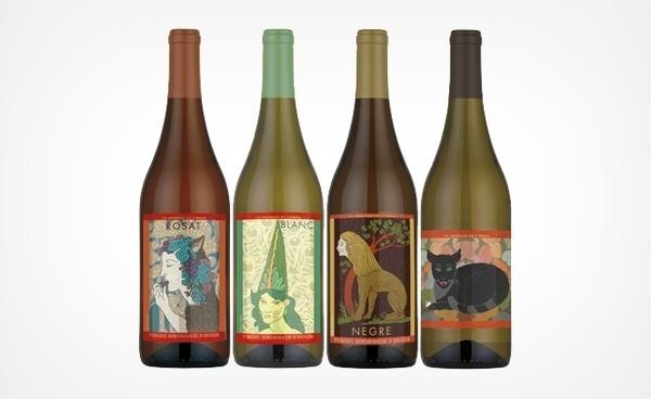 Milton Glaser | The Work | Restaurant 7 Portes #glasser #label #wine #illustration #milton