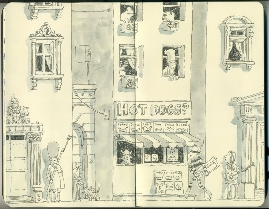 Moleskine Sketches by Mattias Adolfsson | Best Bookmarks #illustration #drawing #sketchbook