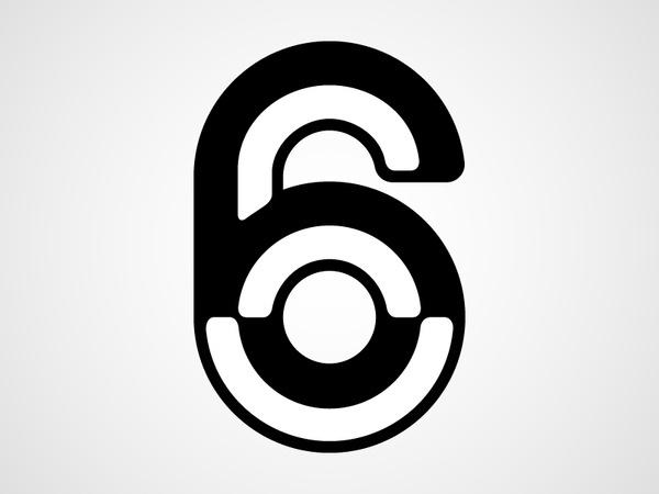 Six #six #white #& #black #bevel #typography