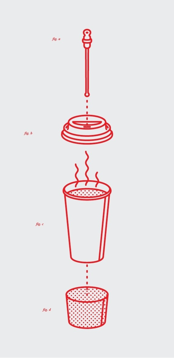 mkn design Michael Nÿkamp #fig #line #heat #sleeve #hot #illustration #exploded #coffee #tone #drawing #cup #sketch
