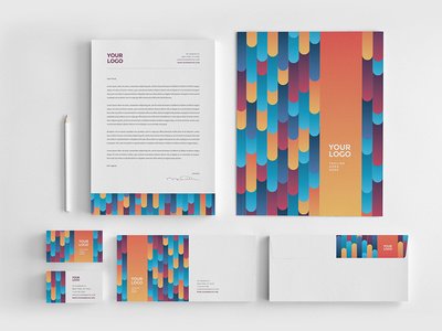 Cool Colorful Stripes Stationery. #stationery #branding #pattern #colorful #inspiration #template #creative