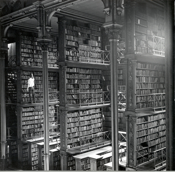 One of the large cast iron book alcoves that lined the Main Hall. Public Library of Cincinnati & Hamilton County #cincinnati #photography #books #library