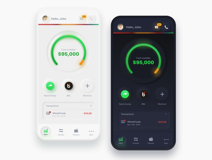 NEUMORPHIC BANK REDESIGN IN DARK AND LIGHT MODE BY HYPE4