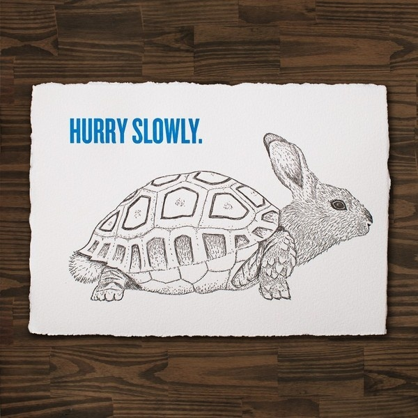 The Rabburtle, by Cecilia Hedin #stress #rabburtle #print #letterpress #hybrid #turtle #postcard #rabbit #animal