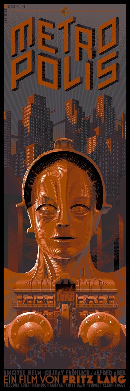 Laurent Durieux #cityscape #robot #fiction #metropolis #illustration #vintage #poster #film #future #science