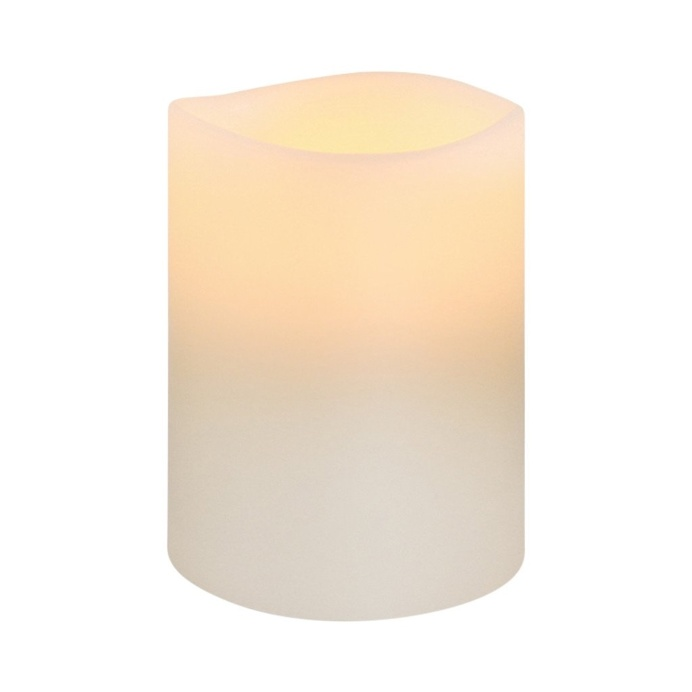 Nordic White Smooth Wax LED Flameless Candle, 8 x 10 cm