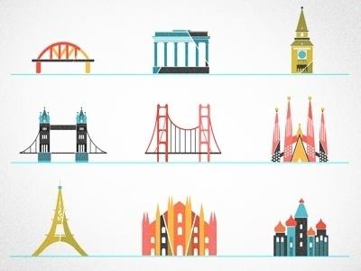 Dribbble - Little landmarks by kellianderson #kellianderson #color #icons #anderson #buildings #kelli