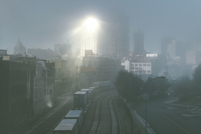 december-4.jpg #train #city #skyscrapers #sun