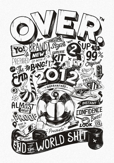 All sizes | OVER 2012 | Flickr - Photo Sharing! #illustration #blackwhite #typography