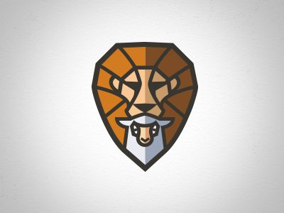 Lion lamb stain glass