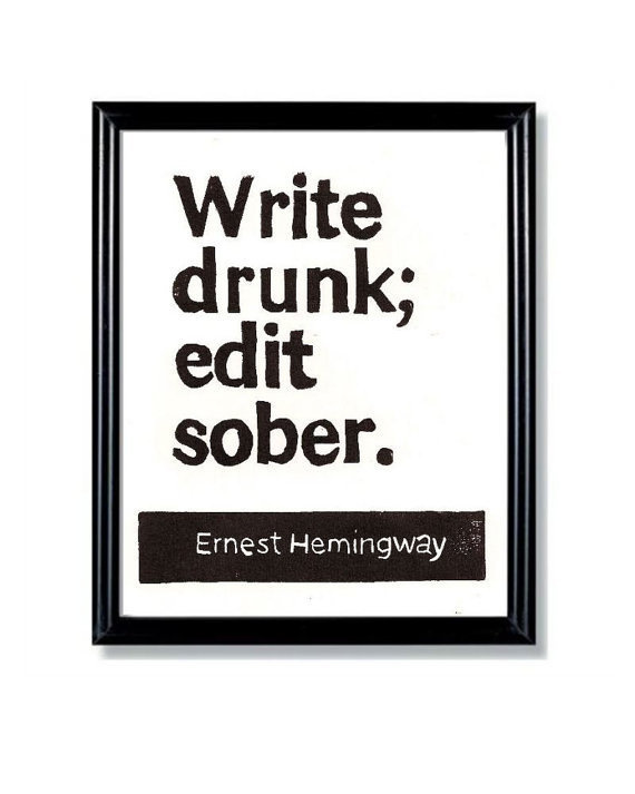 LINOCUT PRINT Write Drunk Edit Sober Ernest by WordsIGiveBy #typography