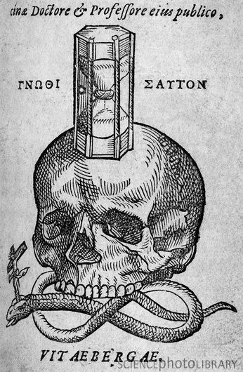 C0088813-Woodcut_of_skull,_snake_and_hourglass-SPL.jpg (JPEG Image, 346 × 530 pixels) #book #snake #illustration #etching #science