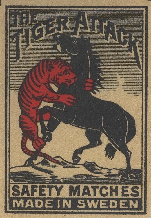 0_473fc_d0d0e769_orig.jpg (521×750) #horse #packaging #matches #vintage #attack #tiger