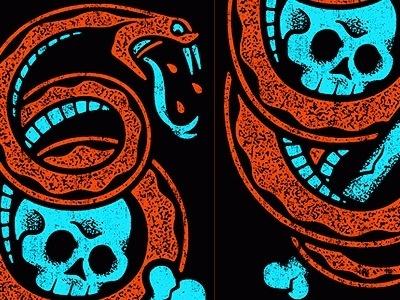 Dribbble - Pierce The Veil - Skull N Snake by Clark Orr #snake #benny #illustration #clark #gold #orr #skull