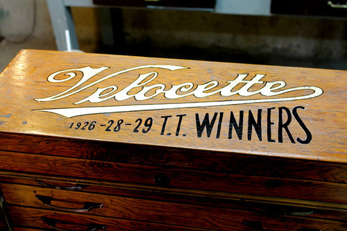 new piece of studio furniture. gold leafed the velocette motorcycle logo on it. #script #sign #vintage #painting #type