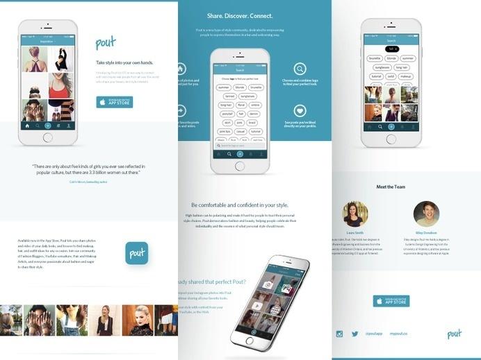 Pout Press Kit #marketing #page #ui #press #product #iphone #mobile #kit #fashion #ios #landing #beauty