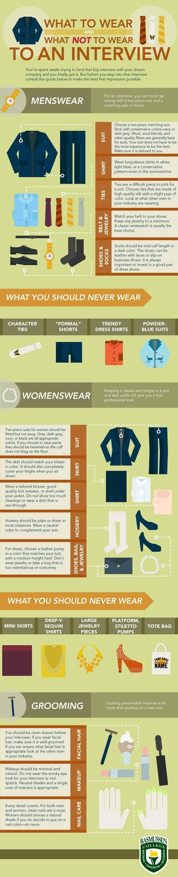 Wondering what to wear for your big interview? Check out this infographic for some helpful hints to help you pick your outfit. Then look at