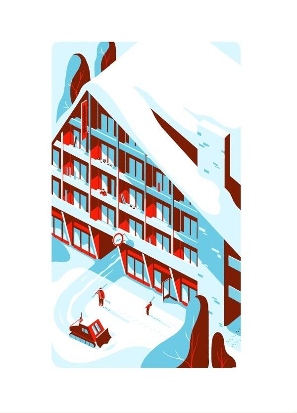 MOUNTAIN on Behance #illustration #challet