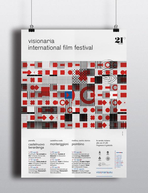 Visionaria21, International Film Festival. Poster by Mimmo Manes, Canefantasma #pattern #red #festival #square #poster #film #circle