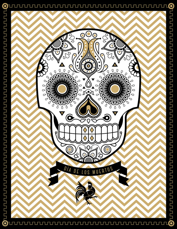 Day of the Dead #banner #skull #flowers #day #of #the #dead #zig zag #rooster