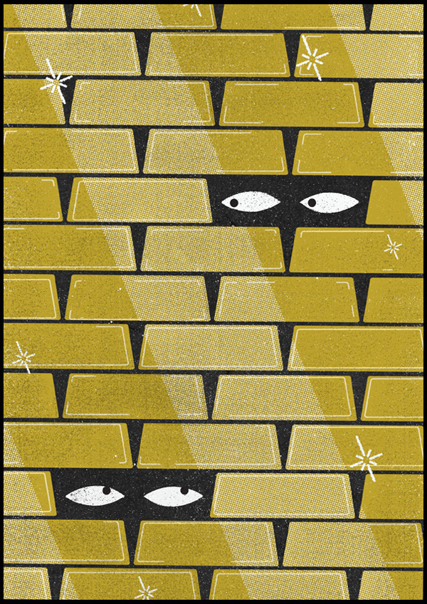 FT_gold #eyes #illustration #wall #gold #poster