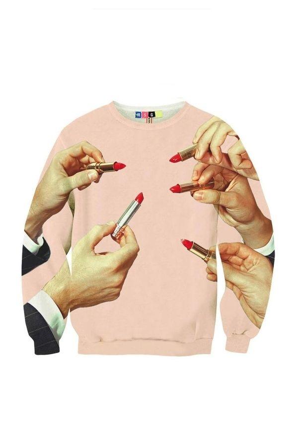 Lipstick Sweatshirt MSGM and Toilet Paper #sweatshirt #print #hands #fashion #lipstick