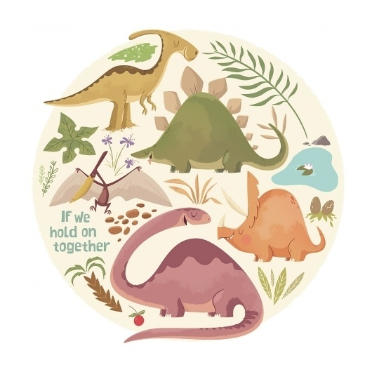 Dribbble - ifweholdon_FINAL.jpg by Christopher Lee #lee #we #on #illustration #if #dinosaur #christopher #hold