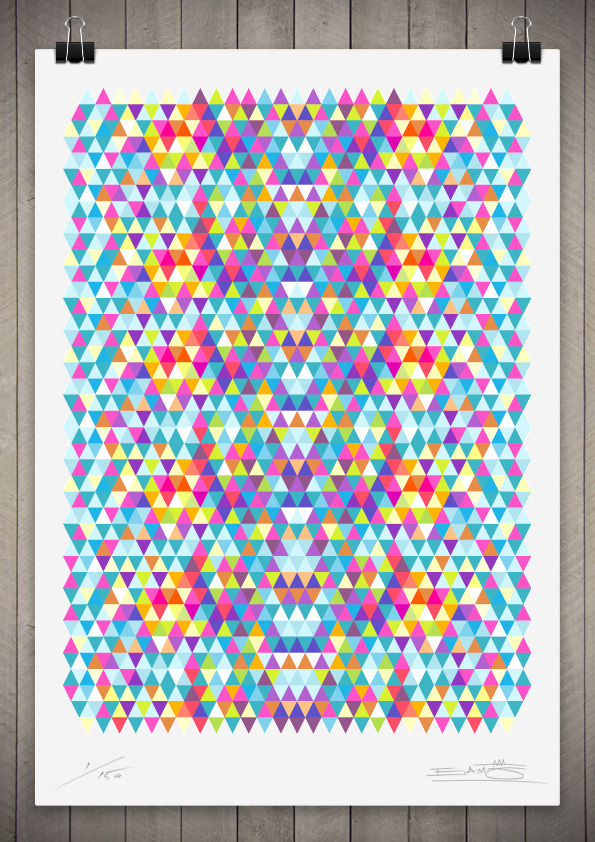 Image of Tri Colour Series Number 5 111cm x 76cm #pattern #print #geometric #triangle #poster