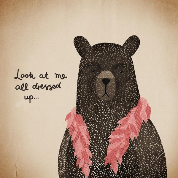 Michelle Carlslund Illustration: Bear Dress-up pink #handlettering #nordic #pink #danish #fur #feathers #rouge #boa #illustration #irony #scandinavian #poster #bear #humor