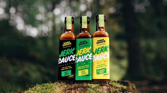 Jerk Sauce Packaging - For Soul Shack we used reclaimed driftwood, oil drums and used zinc roofing as a large part of the brand identity. These experiential factors—burning pimento wood under a hot zinc roof, fresh herbs in tin cans—reinforced the realities of the island-style social eating culture that Longden enjoyed cooking for.