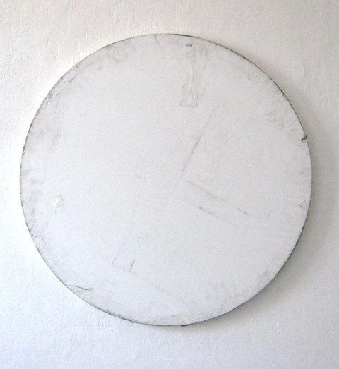 ferrarisheppard: Karin Sander, Mailed painting,... - UGLY IS PRETTY #circle #white #art