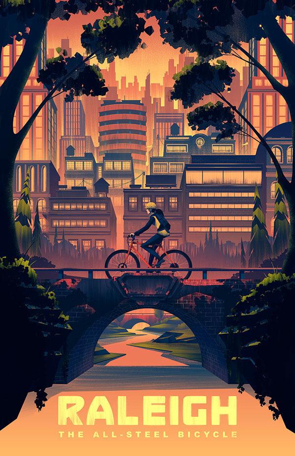 2014 Raleigh Heritage Poster - Brian Miller #city #digital #illustration #art #poster #bike